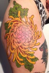 臀部日式传统好看的黄色菊花tattoo图案