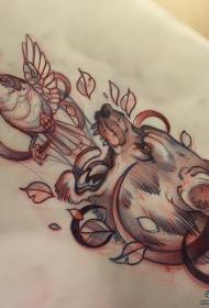 欧美狼头鸟school纹身图案手稿