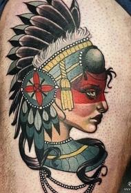 大腿school印第安女郎纹身图案