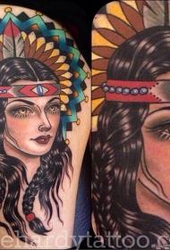 大腿欧美school印第安女郎纹身图案