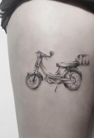 大腿小清新自行车纹身图案