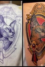 小臂欧美无毛猫宝石school纹身图案