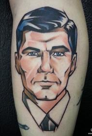 小腿卡通男性肖像纹身图案