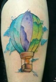 小腿泼墨热气球彩色纹身图案
