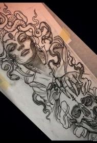 欧美school美杜莎骷髅纹身图案手稿