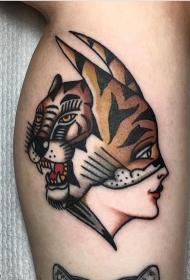 老虎女郎纹身图案