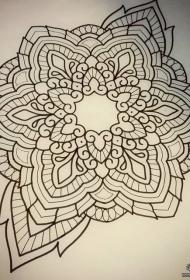 欧美school个性梵花线条纹身图案手稿