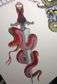 蛇绕匕首school彩色纹身图案手稿