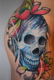 臀部彩色新传统骷髅莲花纹身图案