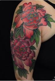 大臂欧美传统牡丹花纹身图案