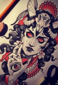 欧美女郎暗黑系纹身图案手稿