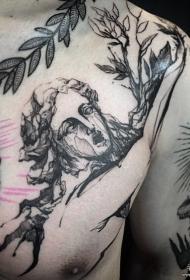 胸口人物欧美泼墨线条纹身图案