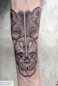 小臂点刺黑灰狼头骷髅纹身图案