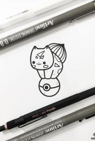 小清新卡通妙蛙种子纹身图案手稿