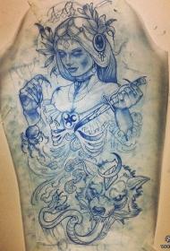 欧美school死亡女郎狼头匕首蛇纹身图案手稿