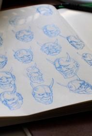 般若头像纹身图案手稿