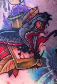 欧美颈部school蛇纹身图案