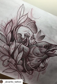 欧美school乌鸦骷髅纹身图案手稿
