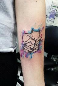 小臂彩色小清新泼墨猫图书纹身图案