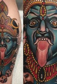 小腿大黑天传统纹身图案