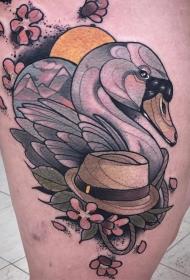 大腿欧美天鹅帽子清新风格纹身图案