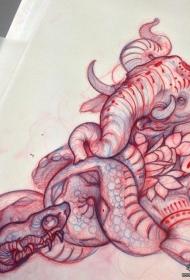 欧美蛇大象个性纹身图案手稿