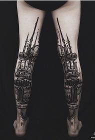小腿欧美school城堡纹身图案