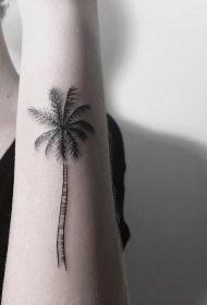 小臂小清新点刺椰树纹身图案