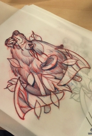欧美狼头树叶school纹身图案手稿