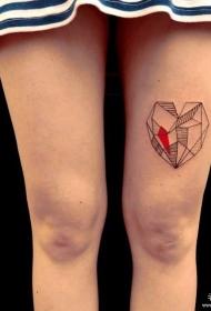 大腿性感几何线条心形纹身图案