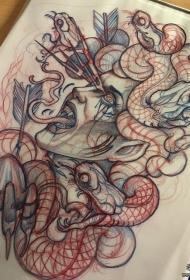 欧美school美杜莎纹身图案手稿