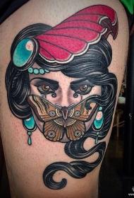 大腿欧美蝴碟女郎纹身图案