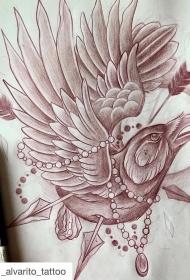 欧美乌鸦箭和宝石纹身图案手稿
