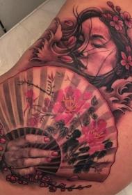 侧腰新传统艺妓扇子樱花纹身图案