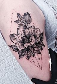 大臂几何点刺花蕊欧美纹身图案