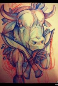 school牛头匕首欧美纹身图案手稿