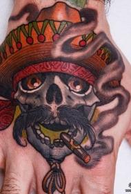手背骷髅牛仔彩绘纹身图案