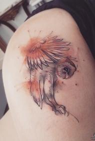 欧美小清新猫头鹰臀部纹身图案