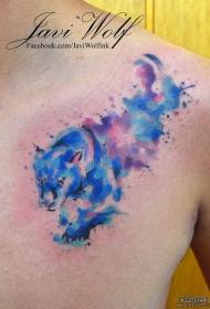 肩部泼墨豹子纹身图案