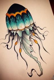 欧美水母水彩泼墨纹身图案手稿