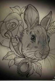 欧美兔子宝石玫瑰纹身图案school手稿
