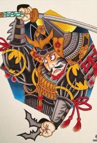 日本武士传统彩绘纹身图案手稿