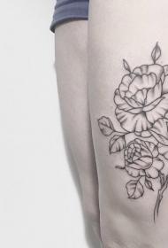 大腿性感欧美花卉纹身图案