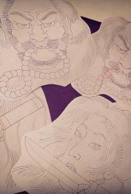 日式传统人物头像纹身图案手稿