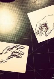 欧美线条手纹身图案