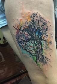 大腿泼墨树时钟纹身图案