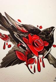 欧美school乌鸦匕首玫瑰纹身图案手稿