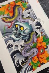 传统蛇骷髅牡丹花彩色纹身图案手稿