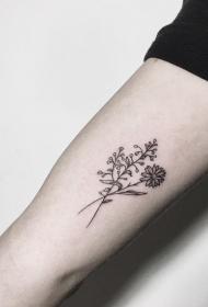 大臂小清新花卉纹身图案