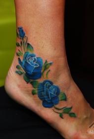 脚踝惊艳的蓝色玫瑰纹身图案